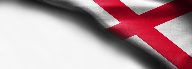 Fabric texture of the Alabama Flag background - flag on white background - right top corner - free copy space