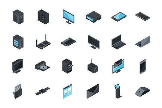 technology hardware device computer icons set isometric