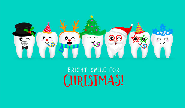 Set of Christmas tooth characters. Emoticons facial expressions. Funny dental care concept. Vector illustration isolated on green background.