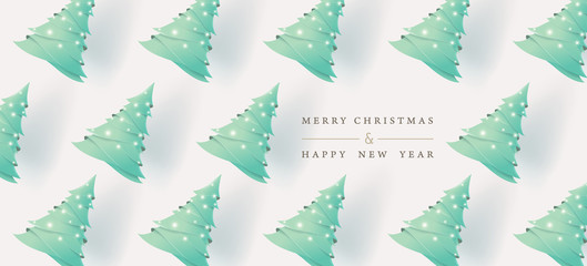 Wall Mural - Merry Christmas and Happy New Year. Xmas background with Christmas tree paper art style. Vector illustration.