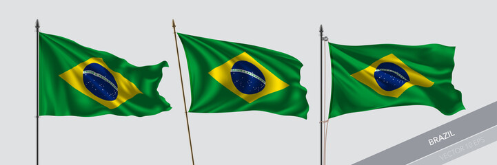 Set of Brazil waving flag on isolated background vector illustration Wall mural