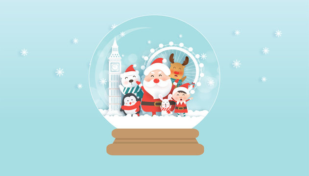 Christmas celebrations with Santa , elf and cute animals in famous landmarks of London.Christmas card, Christmas background  in paper cut and craft style .