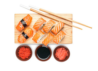 In de dag Sushi bar Composition with different sushi on white background