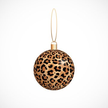 Vector leopard print skin Christmas ball isolated on white background. Winter holiday decoration template. Merry Christmas trendy icon, Xmas ball for design, banner, poster, card.