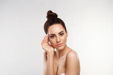Foto op Aluminium Spa Beautiful woman skin care healthy skin. Close up face beauty portrait female