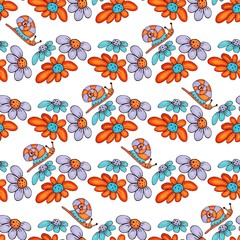 Acrylic Prints Pop Art Cute hand drawn marker doodle seamless pattern with funny snails and flowers.