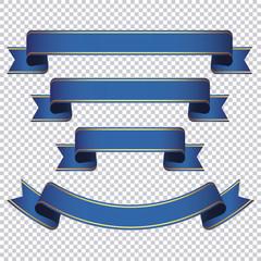 blue ribbon banner set on transparent background