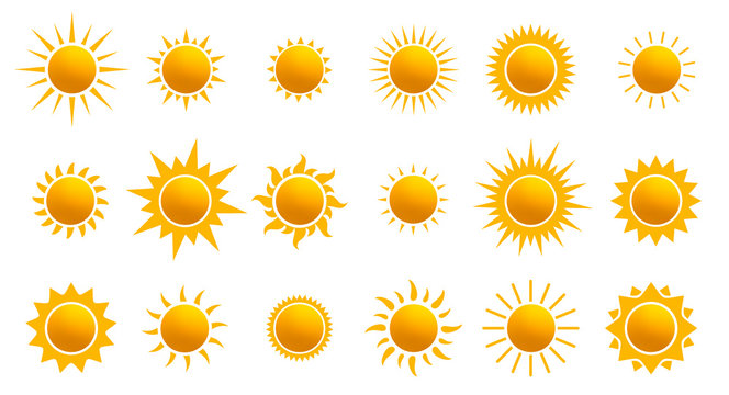Big set of realistic sun icon for weather design. Sun pictogram, flat icon. Trendy summer symbol for website design, web button, mobile app. Template vector illustration. Isolated on white background.
