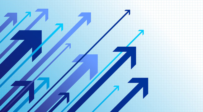 Blue arrows going up. Right movement. Growth success. Vector illustration. Isolated on white background.