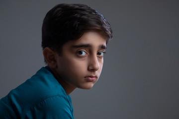 Portrait of a sad young boy. (Children)