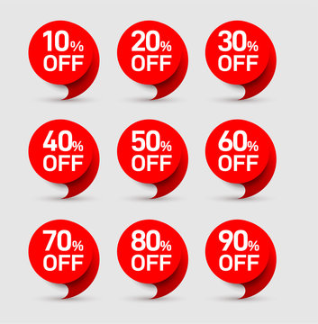 Set of sale of special offers. Discount with the price is 20, 30, 40, 50, 60, 70, 80, 90. Vector an ad with a red tag for an advertising campaign at retail on the day of purchase on white background.