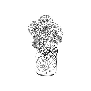 Hand drawn doodle style black and white bouquet of dahlia flowers in mason jar vase. isolated on white background. stock vector illustration.