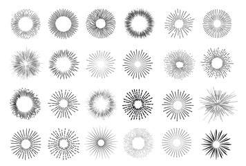 Set of vintage hand drawn sunburst rays design elements, explosion, fireworks black ray's. Vintage sunburst. Elements for graphic and website design. Vector illustration. Isolated on white background.
