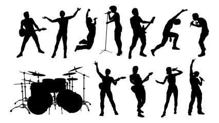 A set of high quality musicians, rock or pop band singers, drummers, and guitarists silhouettes