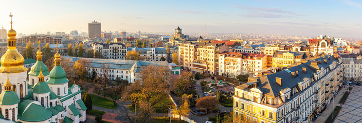 Aerial view of Kyiv city, center district, Ukraine. Panoramic cityscape