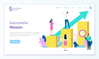 Successful mission of leader vector, person standing on top of chart. Workers helping businessman assistants managing and analyzing stats. Website or webpage template, landing page flat style