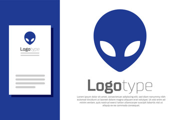Blue Alien icon isolated on white background. Extraterrestrial alien face or head symbol. Logo design template element. Vector Illustration