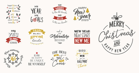 new year insparation greeting phrases. Calligraphy postcard or poster graphic design element lettering set. Fotomurales