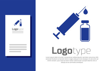 Blue Medical syringe with needle and vial or ampoule icon isolated on white background. Vaccination, injection, vaccine, insulin concept. Logo design template element. Vector Illustration