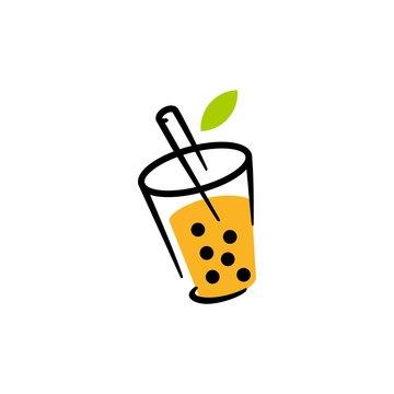 bubble drink tea logo vector icon illustration