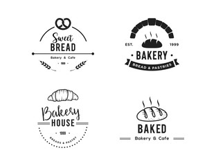 Creative Bakery Concept Logo Design Template, Black and White, Set Logo