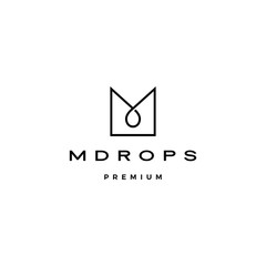 m letter drop logo vector icon illustration line outline monoline