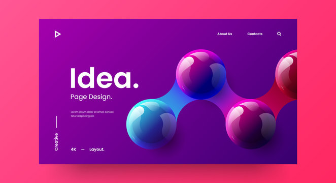Creative horizontal website screen part for responsive web design project development. 3D colorful balls geometric banner layout mock up. Corporate landing page block vector illustration template.