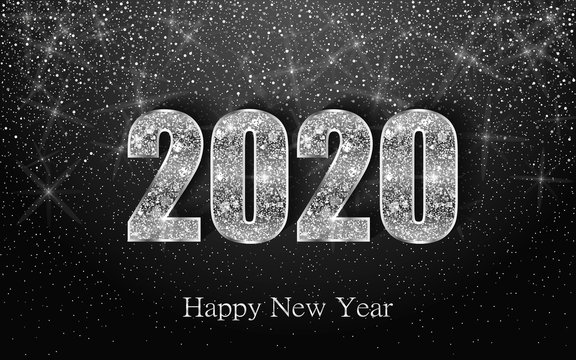 Happy New Year 2020. Luxury background with silver sparkling shiny numbers. Vector Illustration for holiday greeting card, invitation, calendar, poster or banner.
