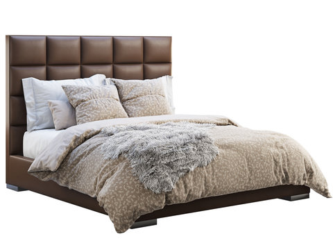 Chalet brown leather frame double bed with bed linen and pelt. 3d render