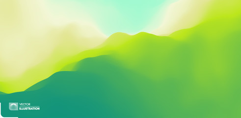 Foto auf Gartenposter Lime grun Landscape with green mountains. Mountainous terrain. Abstract nature background. Vector illustration.