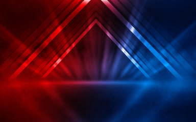 Empty show scene background. Reflection of a dark street on wet asphalt. Rays of red and blue neon light in the dark, neon shapes, smoke. Abstract dark background. Fotomurales