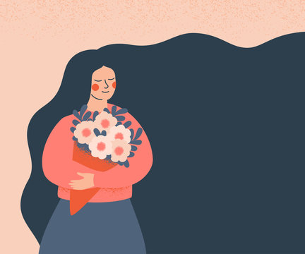 Dreamy woman holding a bouquet of flowers. Concept for the  Mother's day, Valentine's day, March 8 women's day. Cute girl with flowing hair (place for text)