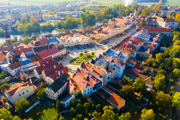 Aerial view of Czech town of Telc