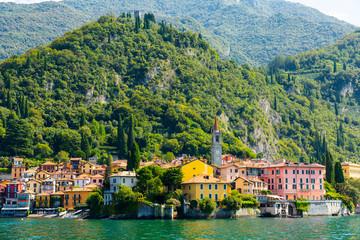 Landscape with lake and mediterranean buildings, lake Como, Varenna