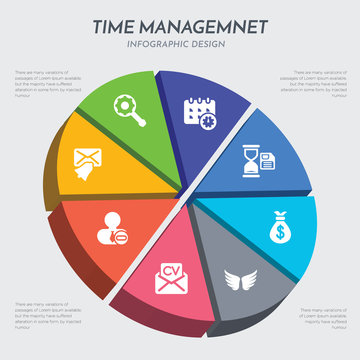 time managemnet concept 3d chart infographics design included reminder, remove user, resume, rush, salary, save time, schedule, searching icons