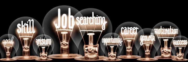 Light Bulbs with Job Searching Concept