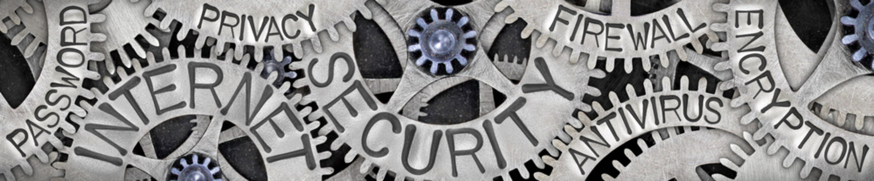 Metal Wheels with Internet Security Concept