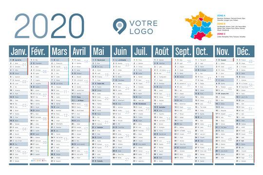 Calendrier mural 2020 - Grand format horizontal