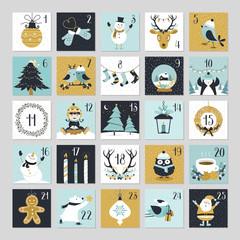 Fototapeta Cute Christmas Countdown Advent Calendar  obraz