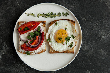 toast with vegetables, avocado sandwiches, fried egg sandwich. Gourmet sandwiches for breakfast, lunch.