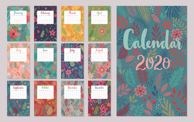 Wall Mural - Calendar 2020. Monthly calendar with floral patterns. Hand drawn