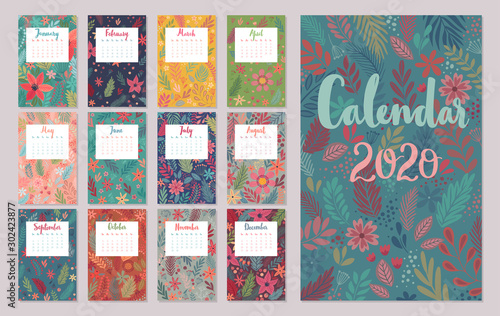 Wall mural Calendar 2020. Monthly calendar with floral patterns. Hand drawn