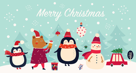 Fotomurales - Vector Christmas banner with funny characters bear, snowman, penguin