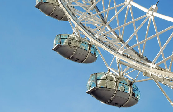 Viewing capsules on the London Eye, one of the UK's top tourist attractions in London, UK - October 9, 2008