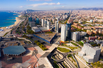Foto op Canvas Barcelona Barcelona, Spain - October 4, 2019: Panoramic view from the drone of residential area Diagonal Mar. Barcelona. Spain