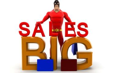 3d superhero with big sales concept