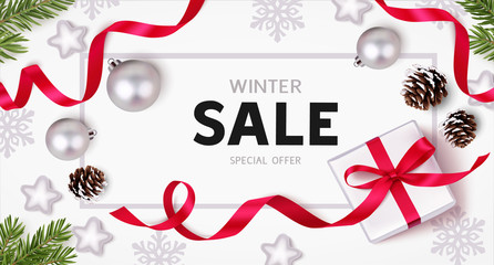 Wall Mural - Winter sale design template. Christmas background with new year holiday decorations. Flat lay. Top view. Vector illustration.