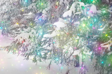 Christmas background with sequins. Eating in the snow in the winter. Merry Christmas and happy new year concept