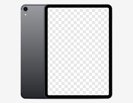 Screen mockup. Tablet with blank screen for you design and back side tablet with camera. Vector EPS10