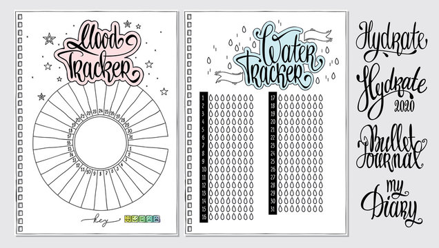 Water tracker. Mood tracker blank with hand written cute numbers and lettering. Bullet journal template. Hydrate lettering. Habit tracker.